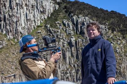 Cameraman James Sherwood filming Rob Pennicott, founder, Pennicott Wilderness Journeys ©Danielle Ryan - Bluebottle Films