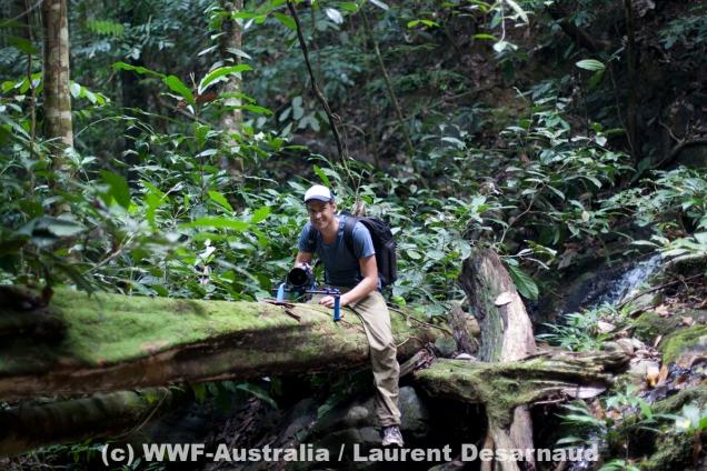 James filming for WWF-Australia in Borneo ©Laurent Desarnaud, WWF-Australia