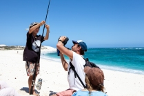 Nolan baiting his hook with cameraman, James - Warroora Station © Danielle Ryan - Bluebottle Films Oct 2014