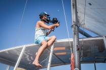 James filming in the Keppel Islands for the Save Our Marine Life Alliance © Danielle Ryan - Bluebottle Films