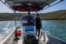 David Williamson and colleague, Daniela, on a research trip surveying coral trout near Orpheus Island - Save Our Marine Life Alliance filming trip - photo from Save Our Marine Life Alliance filming expedition © Danielle Ryan - Bluebottle Films Oct 2014