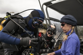 UTAS marine scientist, Neville Barrett, kits up ready to go diving on Maria Island © Danielle Ryan - Bluebottle Films Oct 2014