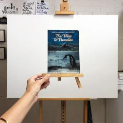 Photo by Jaimee Paul of The Map to Paradise poster - the penguin which she will turn into an artwork.